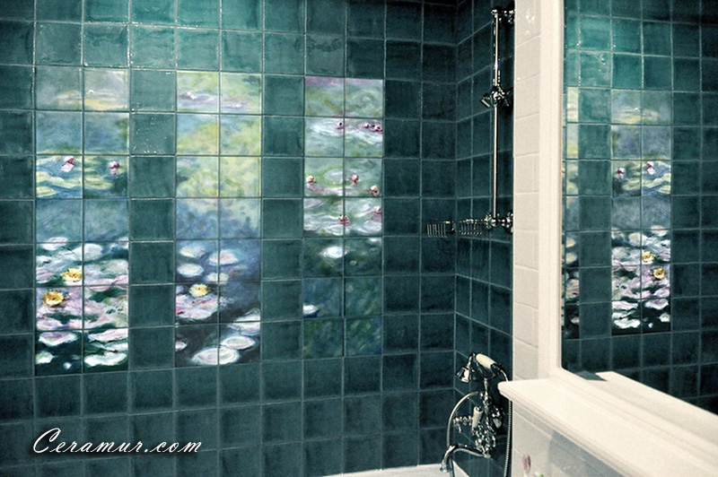 Click To Enlarge Image Lilies Bathroom Art Tiles_01_Ceramur ...